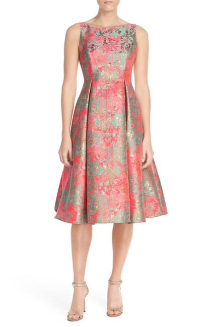 Item - Pink Metallic Jacquard Fit and Flare Mid-length Cocktail Dress Size 4 (S)