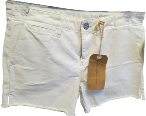 AG Adriano Goldschmied Distressed Cut Off Shorts White