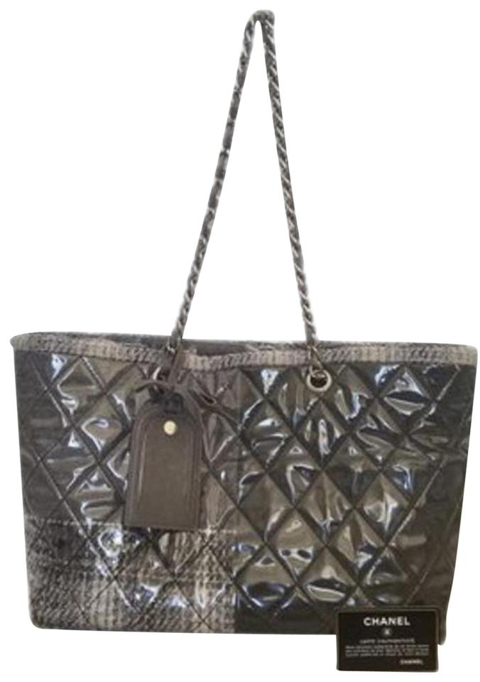 09ca349bc015 Chanel Cambon Chain Bag Large Quilted Tweed Shopping Silver Gray Patent Leather  Tote