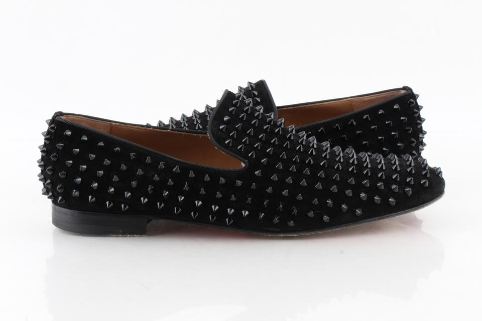 best website dc2f8 a3d62 Christian Louboutin Black Dandelion Spikes Flat Veau Velour Loafers Shoes  53% off retail