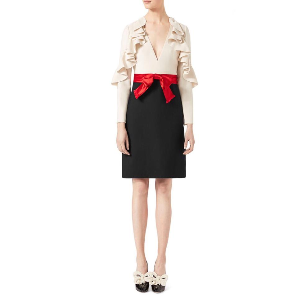 3dbde5e03 Gucci Black/White/Red Ruffle-sleeve Silk & Wool Mid-length Cocktail ...