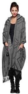 Love Stitch Hooded Shawl Knitted Sweater