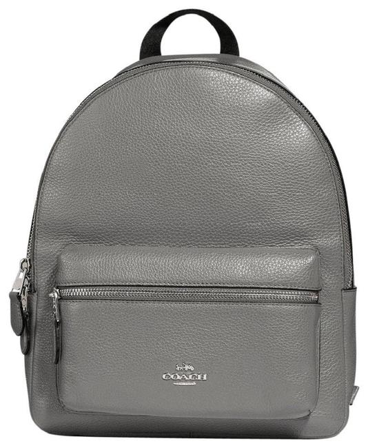 Item - Charlie Medium Heath Grey with Silver Hardware Pebbled Leather Backpack