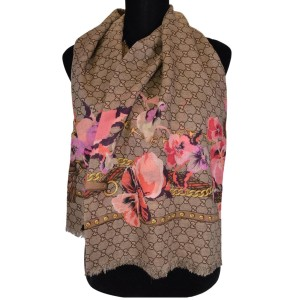 Gucci Gucci Women's Large Wool Pink Pansy Blooms GG Scarf Shawl wrap 508797