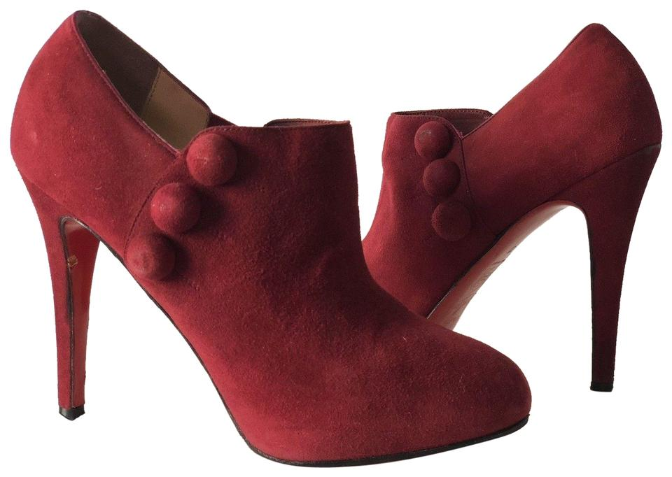 26ae5394f2d Christian Louboutin Burgundy Suede Leather Ankle Boots/Booties Size EU 37  (Approx. US 7) Regular (M, B) 64% off retail