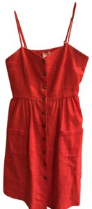 COPE short dress Red/Coral Linen Button Pocket on Tradesy