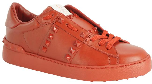 Item - Red Leather Rockstud Low Top Studded Flats Sneakers Size EU 36 (Approx. US 6) Regular (M, B)
