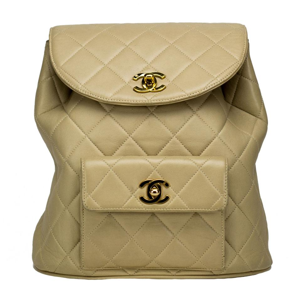 7a9d85c29025 Chanel Vintage Quilted Lambskin Duma Cc Logo Beige Leather Backpack ...