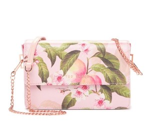 Ted Baker Peach Fruit Peach Blossom Flap Closure Magnetic Snap Cross Body Bag