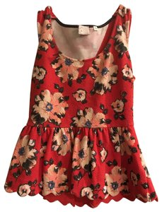 Anthropologie Flowers Scalloped Top red