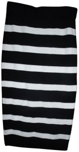 2b bebe Pencil Stretch Knit Stripe Autumn Fall Skirt Black & White
