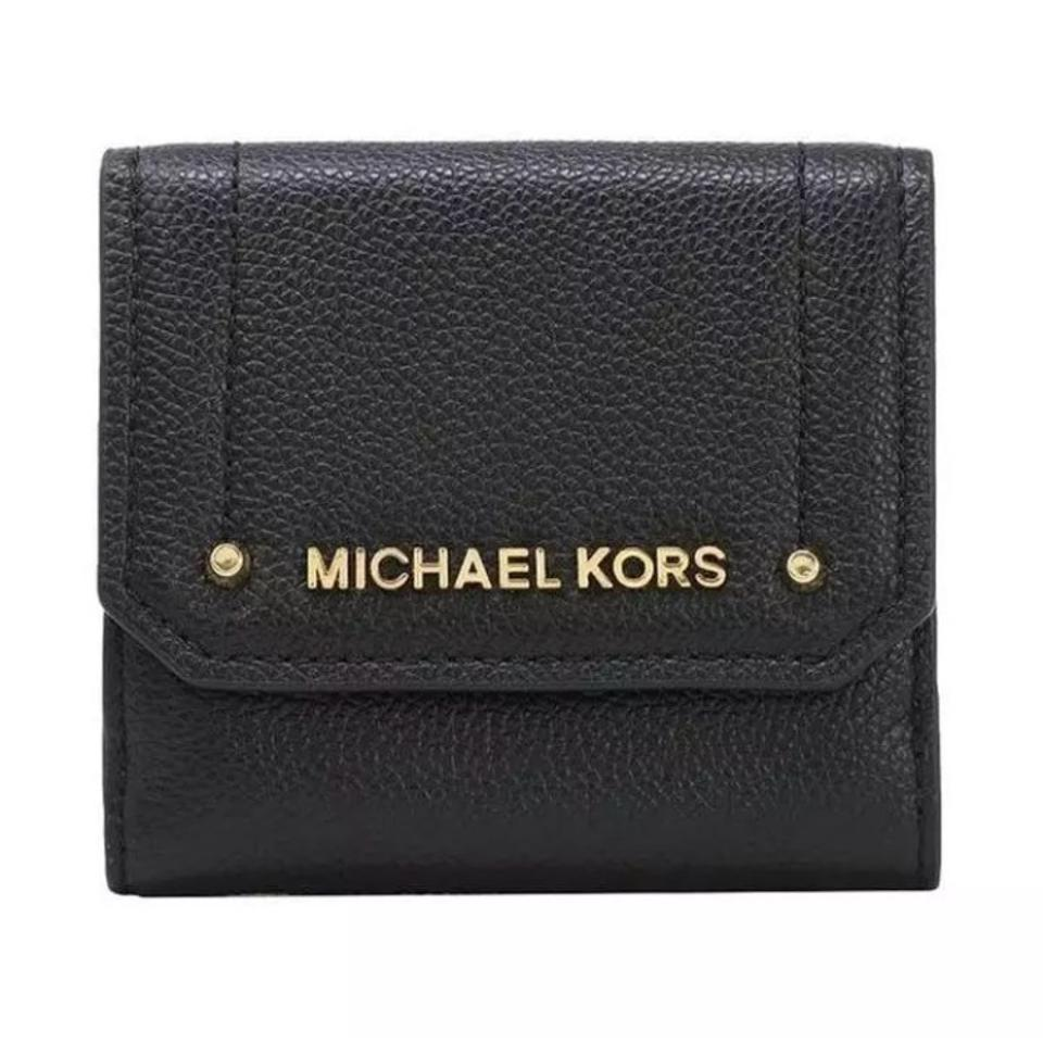 b60bddcabcc1 Michael Kors Black Gold Leather Trifold Card Case Id and Coin Case ...