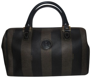 Fendi Classic Style Mint Vintage Shades Style Satchel in Wide Tobacco Striped Coated Canvas & Brown Leather