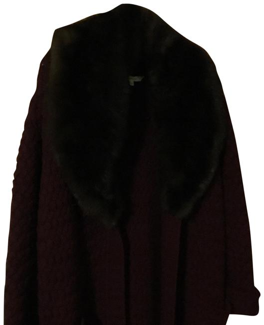 Item - Burgundy Cashmere Cable-knit Full Length Cardigan with Massive Mink Collar Keeps The Cold Out with Two Pockets In The Front Coat Size 10 (M)