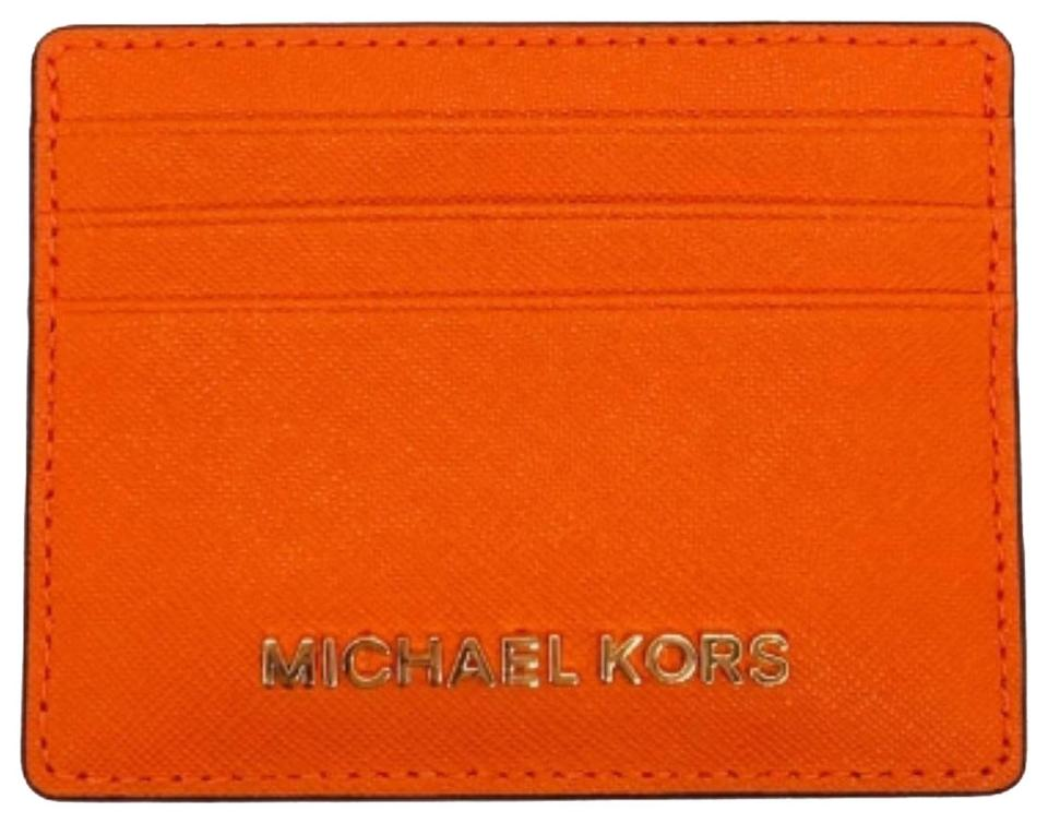 68db60e2c8a6 Michael Kors Orange Jet Set Travel Large Id Card Holder Wallet - Tradesy