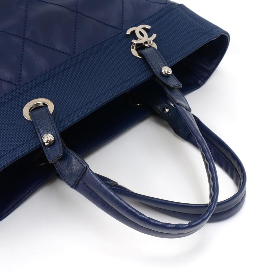 2b235449549d3e Chanel Bag Biarritz Paris Mm X Leather - Rare Blue Coated Canvas Tote -  Tradesy