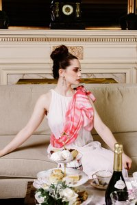 Valentino 4th July February Love Haute Wedding - Pastel Pink Rose and Ruby On White Couture Silk Stole Bridal Wraps Other