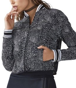 Fabletics FABLETICS Tia Black White Cropped Mesh Back Bomber Jacket NEW Womens S