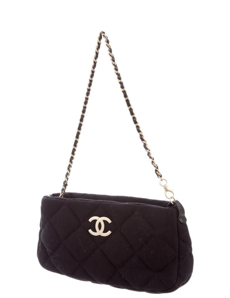 40b1c690864 Chanel Jersey Quilted Shoulder Black Cotton Clutch - Tradesy
