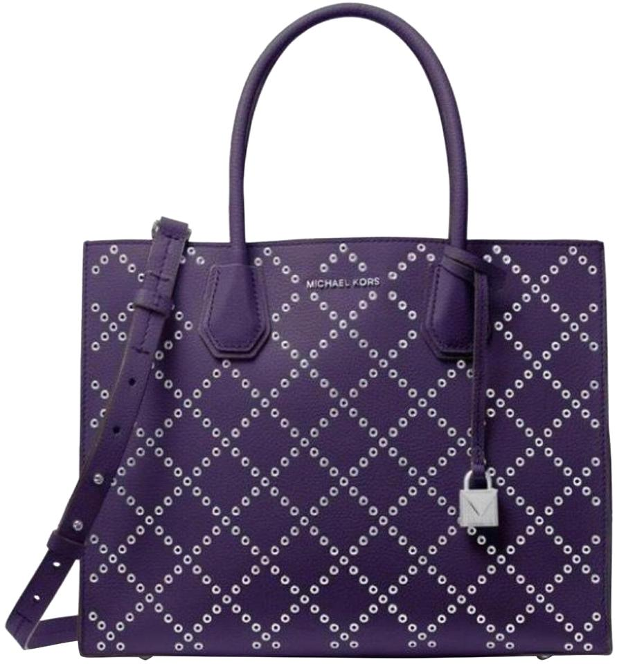 66b27ab88842 Michael Kors Mercer Stud and Grommet Convertible Large Iris/Silver Leather  Tote
