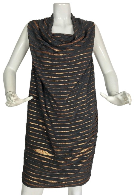 Item - Gray & Copper Sequin Embellished Tunic New Short Formal Dress Size 8 (M)