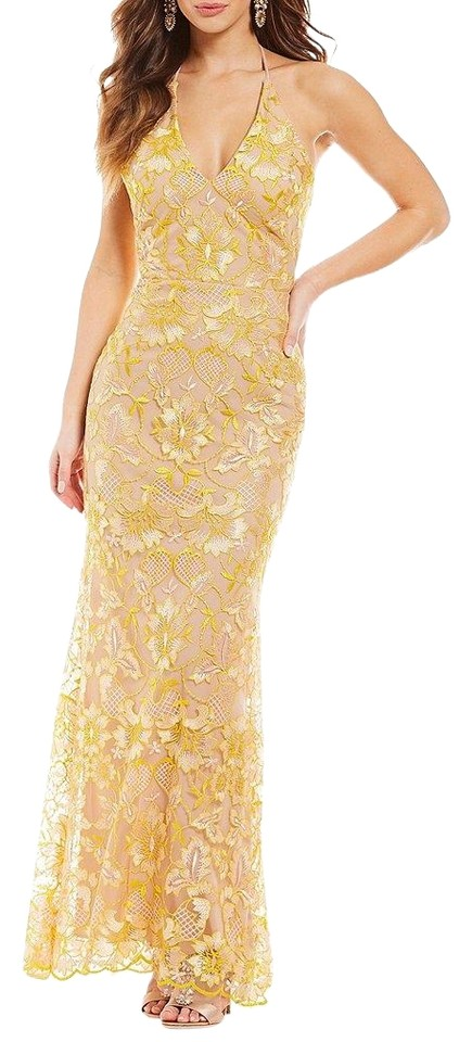 09f310bc35f GB Yellow Nude Social Halter Neck Lace Gown Long Formal Dress Size 2 ...