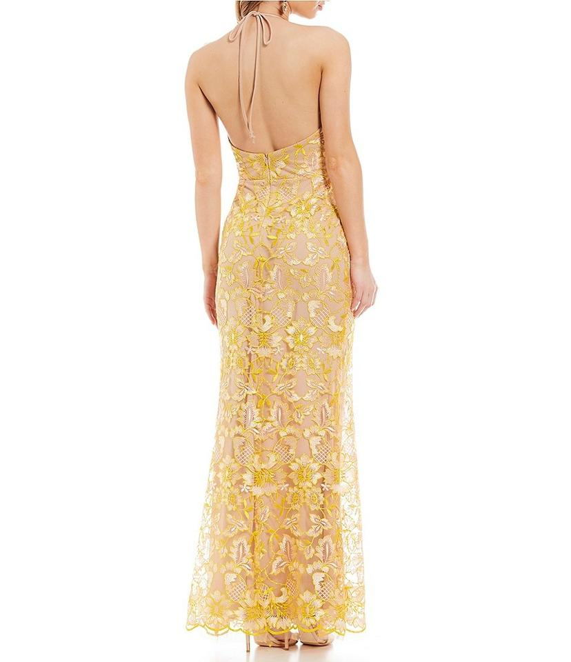 6ccea4a12d5 GB Yellow Nude Social Halter Neck Lace Gown Long Formal Dress Size 2 ...