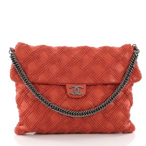 d36720e76ccb Chanel Classic Flap Walk Of Fame Quilted Large Red Orange Lambskin ...