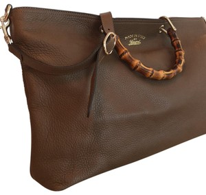 8e715e1044c8 Gucci Ramble Layered Pebbled Medium Brown and Lime Green Leather ...