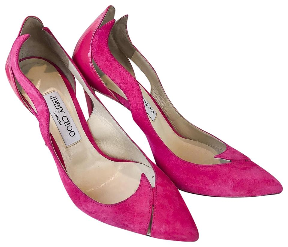 0658446d9a82 Jimmy Choo Pink Suede   Patent Leather Saga Flame Cutout Heels Pumps ...