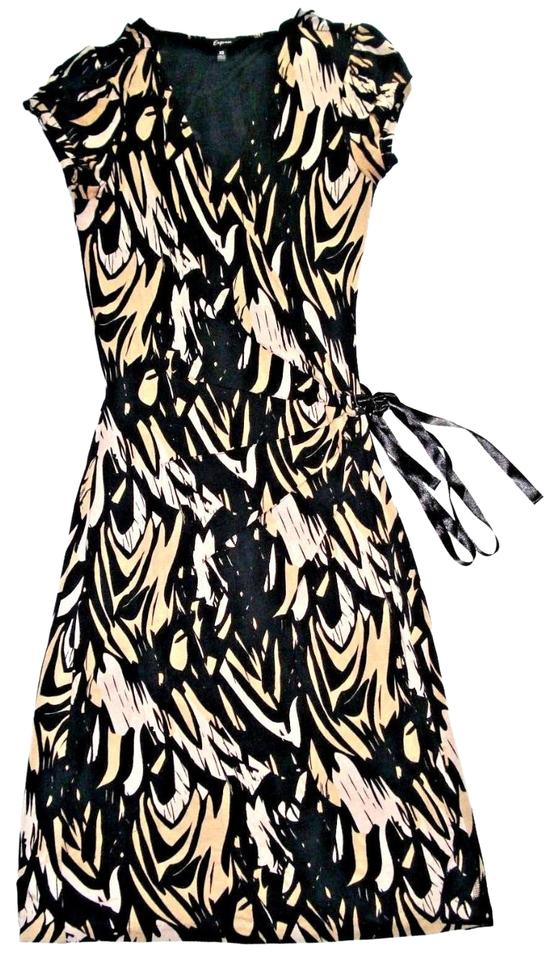 4d300ce2123 Express short dress Black Beige Printed Jersey Wrap Knit on Tradesy Image 0  ...
