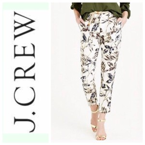 J.Crew Capri/Cropped Pants ivory/cream with brown and navy prints and gold