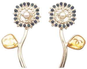 Chanel Chanel Brand New Gold CC Flower Blue Stone Stem Clip on Earrings