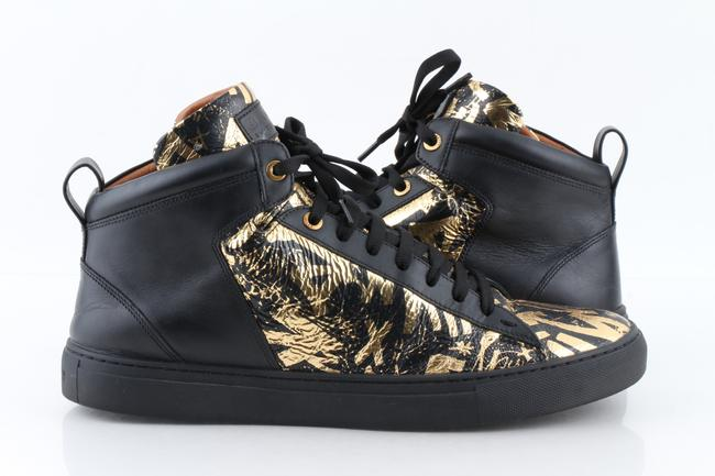 Item - Multicolor Graffiti Men's Hedo Leather High-top Sneakers In Black/Gold Shoes