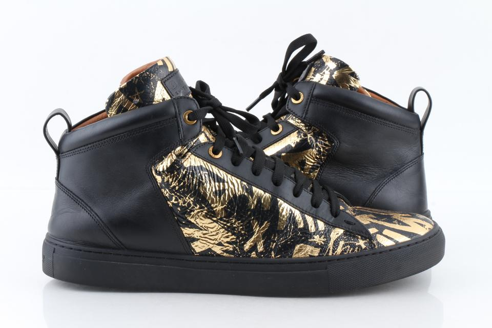 1067e0e0df6b Bally Multicolor Men s Hedo Graffiti Leather High-top Sneakers In  Black Gold Shoes Image ...
