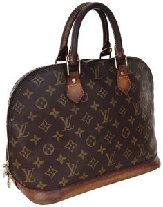 Louis Vuitton Alma Monogram Totes France Satchel in Brown