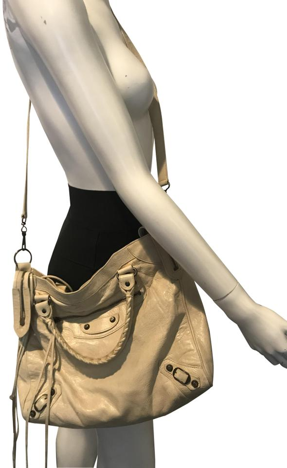 7538ef40c5 Balenciaga W 1231018 Ivory/Beige City Double Handle W/Cross Body ...