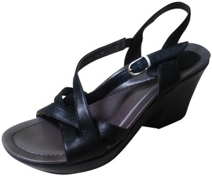 Dansko Sandal Platform Pump Leather Black Wedges