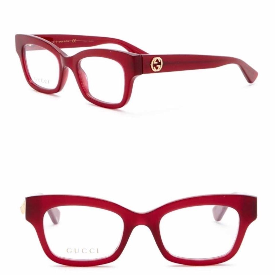 cfb9403112445 Gucci Burgundy Gold 48mm Cat Eyes Acetate Optical Glasses Sunglasses ...