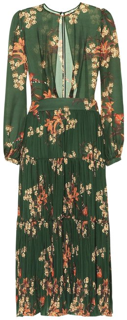 Item - Green Silk Georgette Pleated Open Back Counter Culture Long Casual Maxi Dress Size 0 (XS)