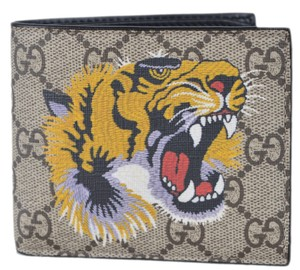 Gucci NEW Gucci Men's GG Supreme Canvas Angry Bengal Tiger Bifold Walllet