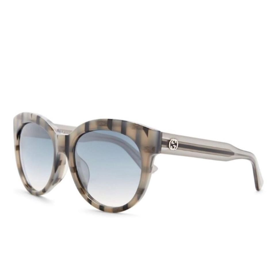 3a68fa0845 Gucci Black Gray Stipes 57mm Cat Eye Acetate Sunglasses - Tradesy