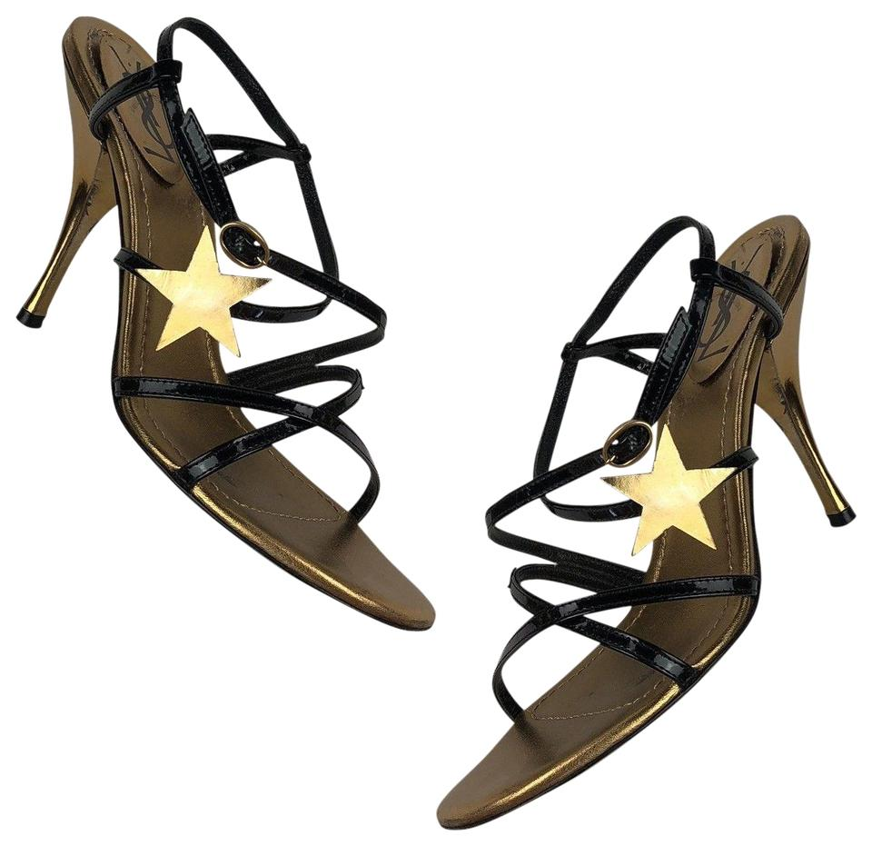 a9dcac893a8 Saint Laurent Multi-color Yves Heels Patent Leather Stars Back Gold ...