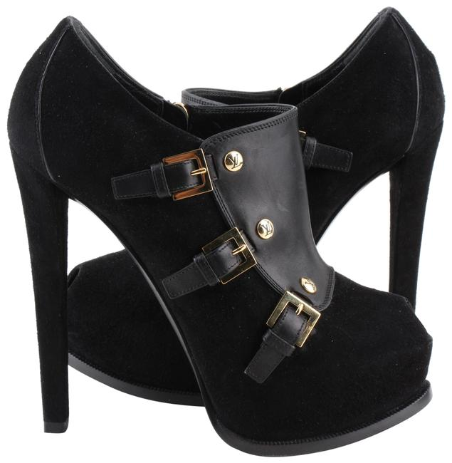 Item - Black Suede and Leather Peep Toe Booties Wedges Size US 6 Regular (M, B)
