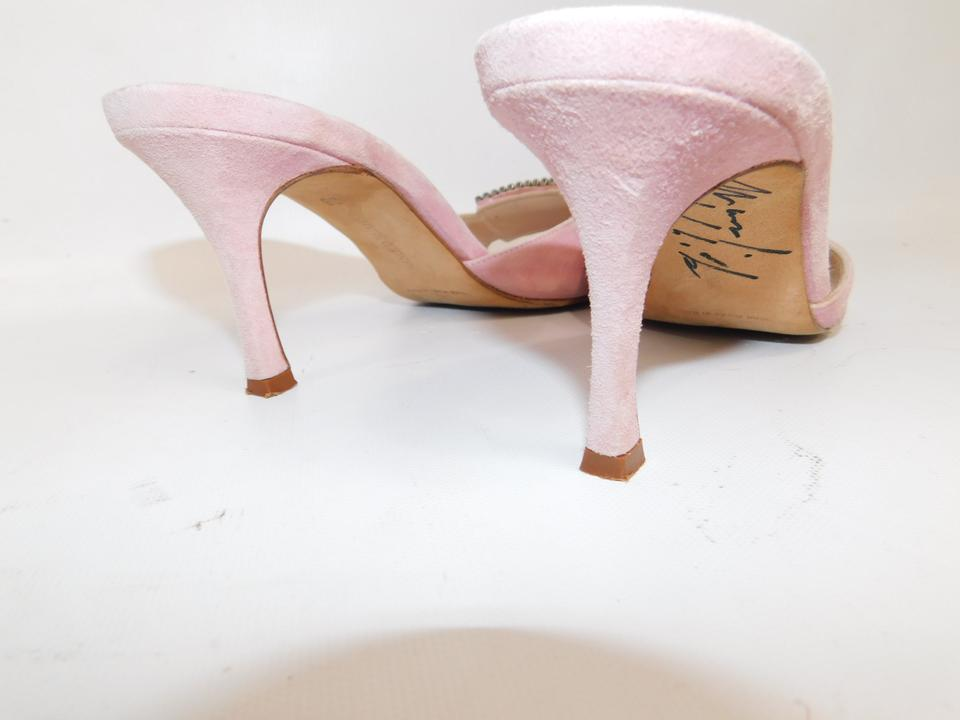 7bf6a7718d6ad Manolo Blahnik Blush Autographed Suede Crystal Heels Formal Shoes ...