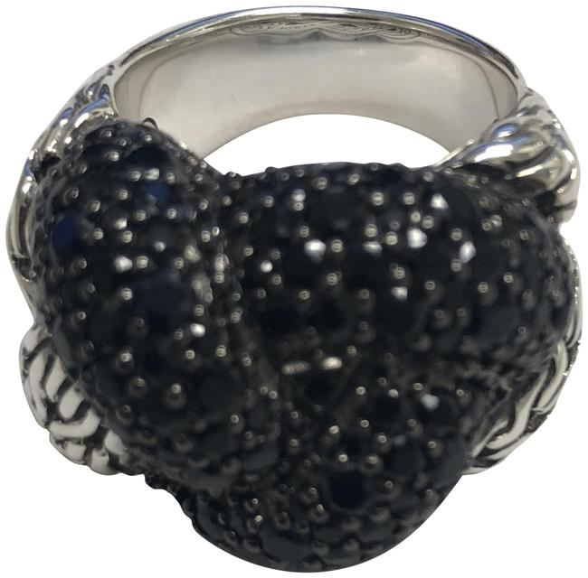 Item - Black Sapphire Sterling Silver Large Classic Chain Lava Braided 7 Ring