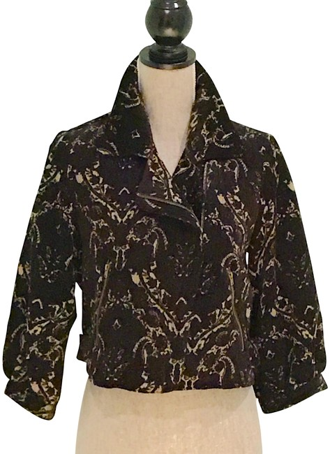 Item - Black and Gold Jacquard Short Fully Lined Small Jacket Size 6 (S)