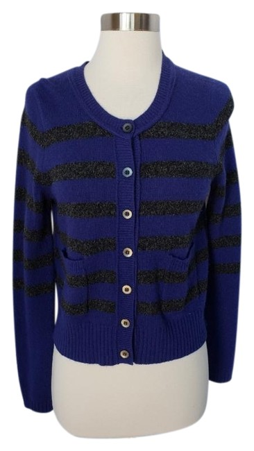 Item - Blue and Gray Striped Cardigan Size 4 (S)