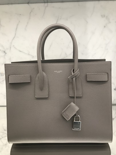 88f71400ae Saint Laurent Sac de Jour Classic Small In Light Grey Grained Leather  Satchel 28% off retail