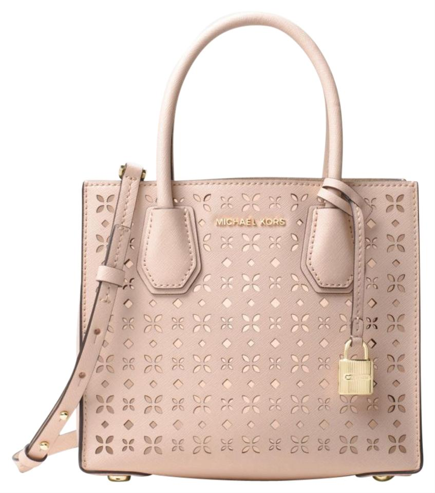 91d9271ac3f9ce Michael Kors Mercer Perforated Laser Cut Baby Pink Leather Cross Body Bag